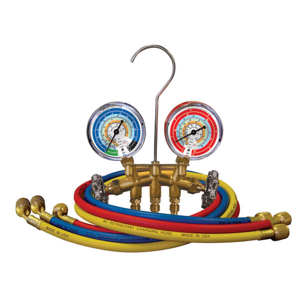 Mastercool 33661 2-Valve Brass Charging Manifold with 60in Hoses