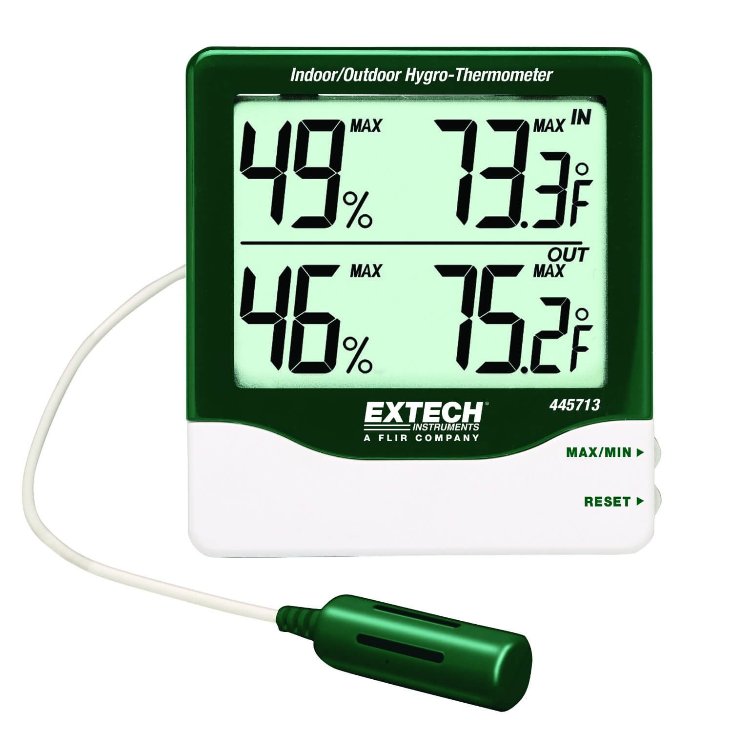 Extech 445713 Indoor-Outdoor Hygro-Thermometer with Big Digit Display