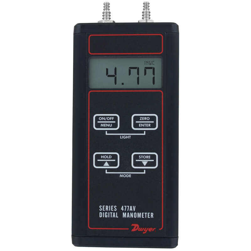 Dwyer 477AV-0 Digital Manometer Precision Pressure Meter 0-10 Inch WC