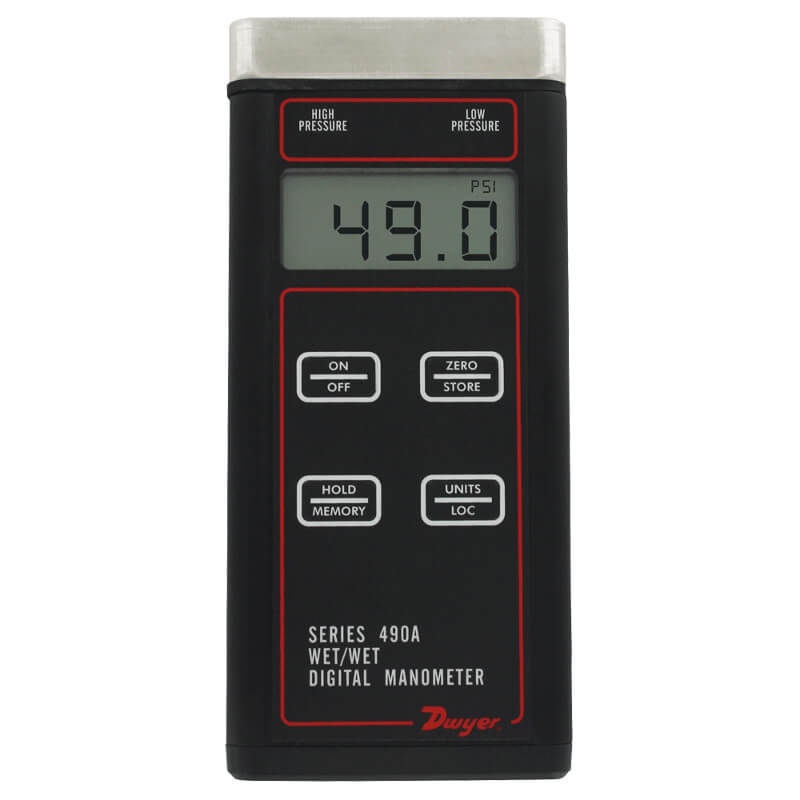 Dwyer 490A-5 Wet-Wet Digital Manometer 0 to 500 PSI Pressure