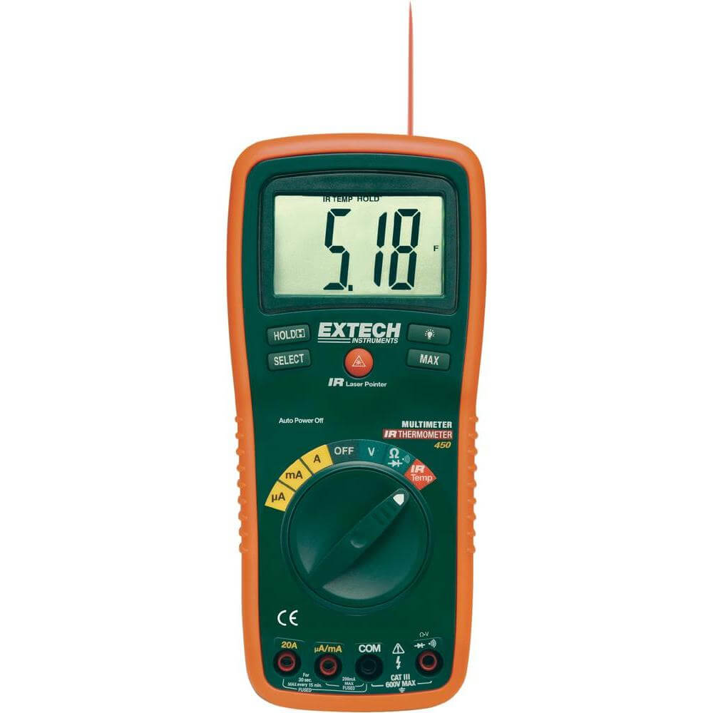 Extech EX450 Digital Multimeter with Infrared Thermometer