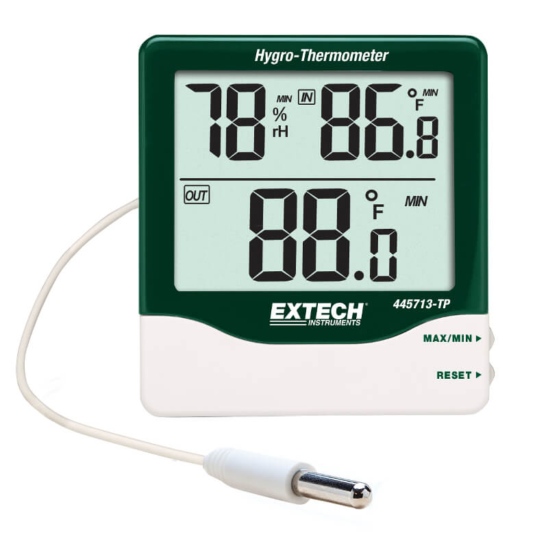 Extech 445713-TP Indoor Outdoor Hygro-Thermometer with Detachable Probe
