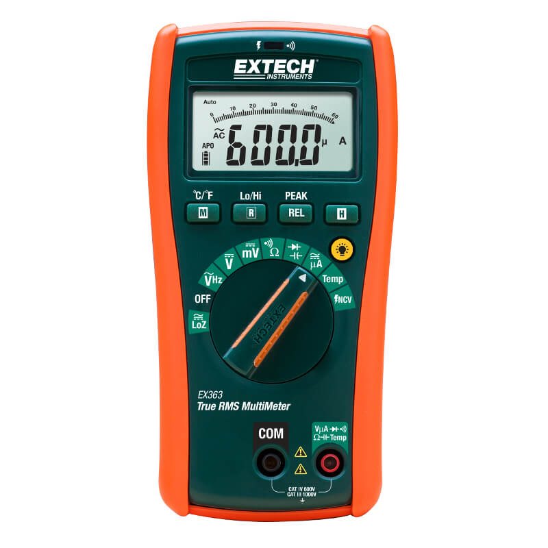 Extech EX363 True RMS Multimeter with 11 functions and Type-K Probe