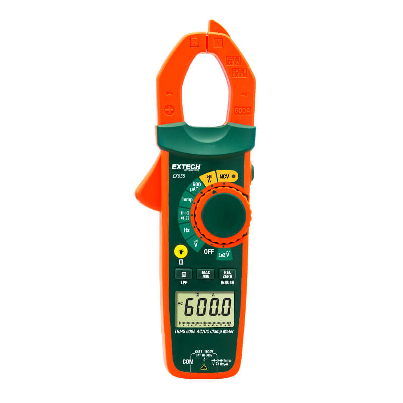 Extech EX655 TRMS 600A ACDC Clamp Meter and NVC Probe