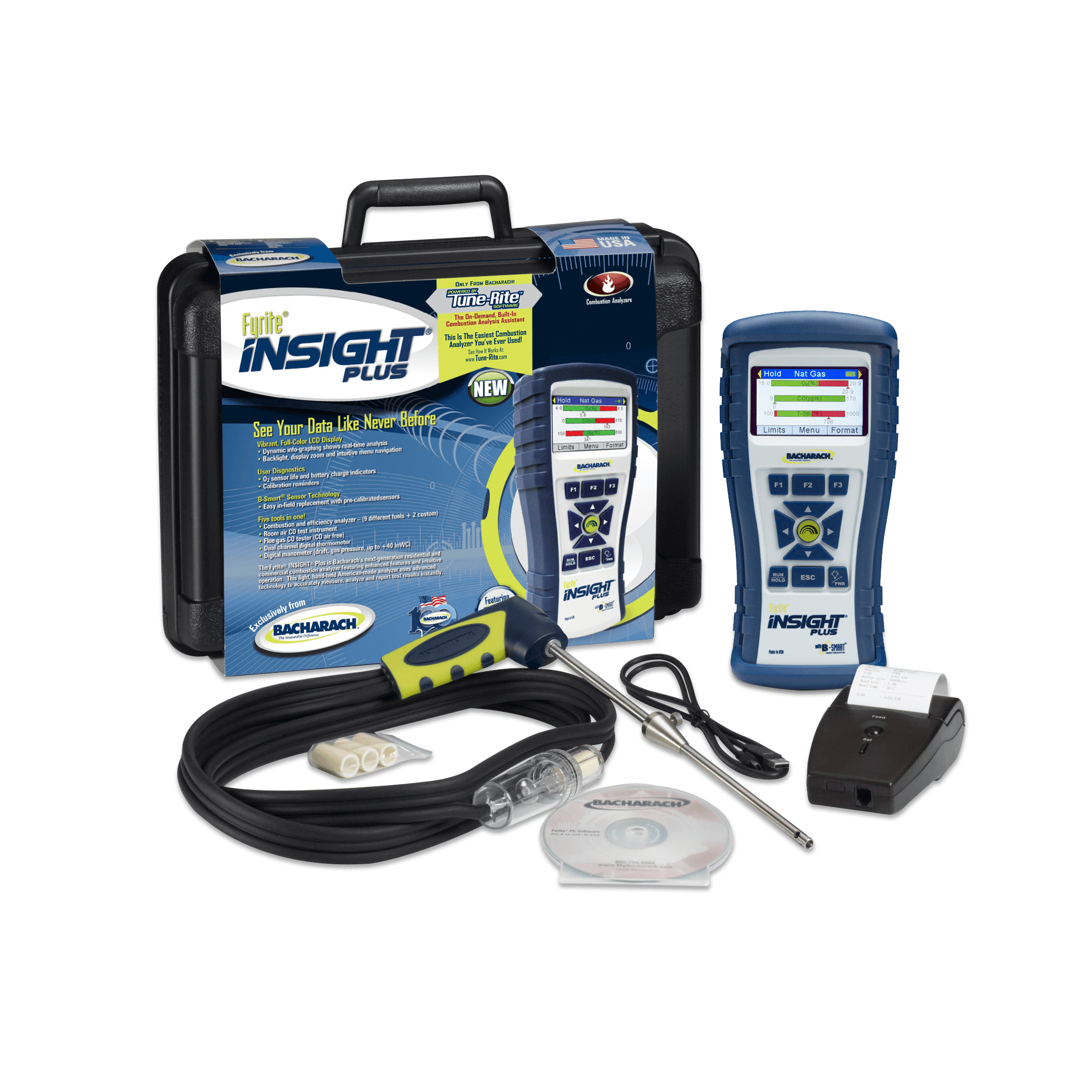 Bacharach 24-8518 Fyrite Insight Plus Combustion Analyzer Reporting Kit LL [Free 2nd Day Shipping]