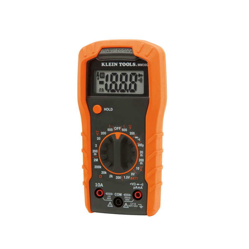 Klein Tools MM300 Digital Multimeter Manual Ranging 600V AC/DC 10A DC