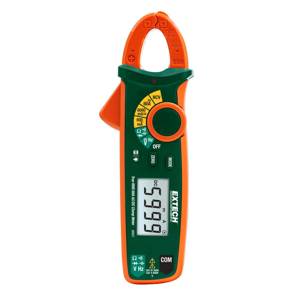 Extech MA63 True RMS 60A ACDC Clamp Meter Non-Contact Volt Probe